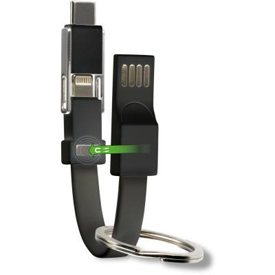 4smarts Schlüsselring USB-A zu USB-C/Lightning/Micro-USB Adapter Kabel Schwarz