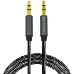 4smarts 3,5mm Stereo Audiokabel SoundCord 1m, Textil schwarz