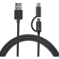 4smarts Micro-USB & USB-C Kabel ComboCord 1m, Textil Schwarz