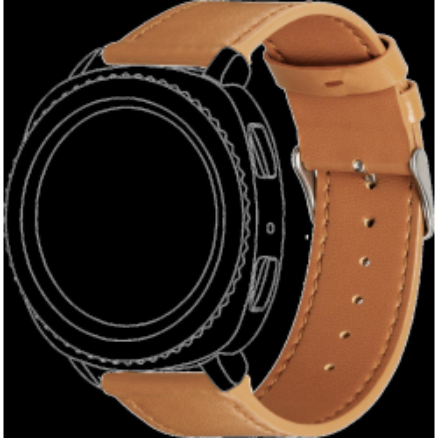 Topp - Armband für Samsung Gear Sport/Galaxy Watch 42mm | Leder | Hellbraun