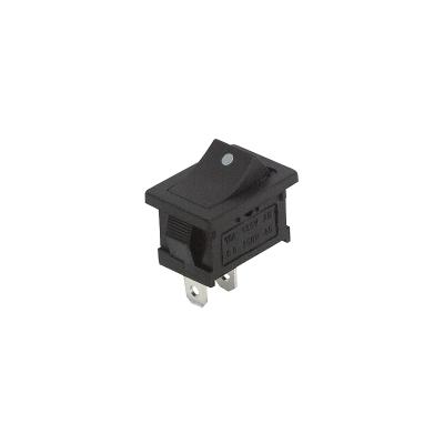Mini-Wippenschalter McPower, 2-polig, schwarze Wippe mit Punkt, 250V/6A