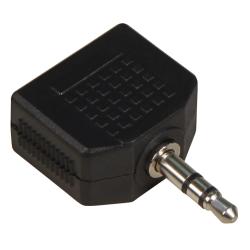 Klinke-Adapter, stereo 2x 3,5mm Kupplung auf 3,5mm Stecker