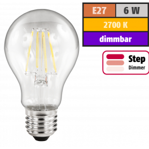 LED Filament Glühlampe McShine Filed, E27, 6W, 630lm, warmweiß, step-dimmbar