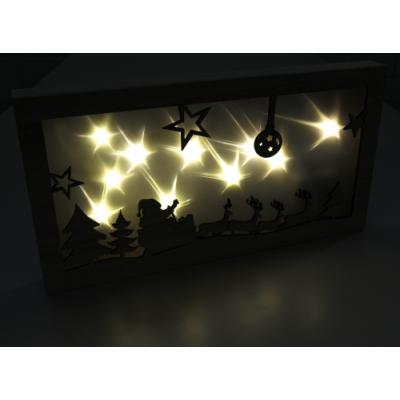 LED Dekolicht Weihnachtsmannschlitten aus Holz, 10 LED