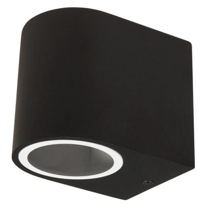Wandleuchte McShine Oval-A schwarz, IP44, 1x GU10,...