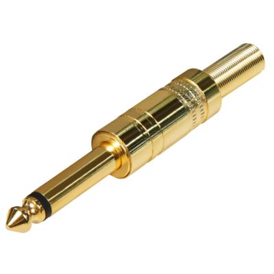 Klinken-Stecker 6,35mm Mono mit Knickschutz vergoldet