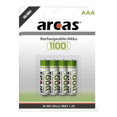 Micro-Akku 1,2V, 1.100mAh, Typ AAA, NiMH, 4er-Blister