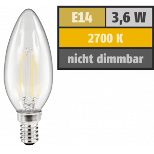 LED Filament Kerzenlampe McShine Filed, E14, 3,6W, 360 lm, warmweiß, klar