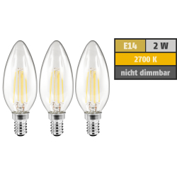 LED Filament Set McShine, 3x Kerzenlampe, E14, 2W, 200lm, warmweiß, klar