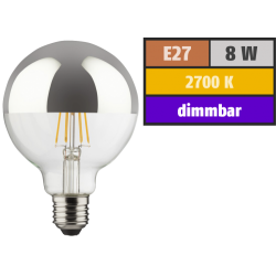 LED Filament Kopfspiegel-Globelampe, E27, 8W, 850lm,...