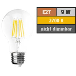 LED Filament Glühlampe McShine ''Filed'', E27, 9W, 1055 lm, warmweiß, klar