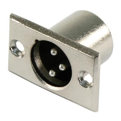 XLR-Einbaustecker, silber Metall, 3-polig
