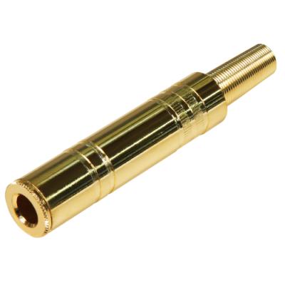 Klinken-Kupplung 6,35mm Mono mit Knickschutz vergoldet