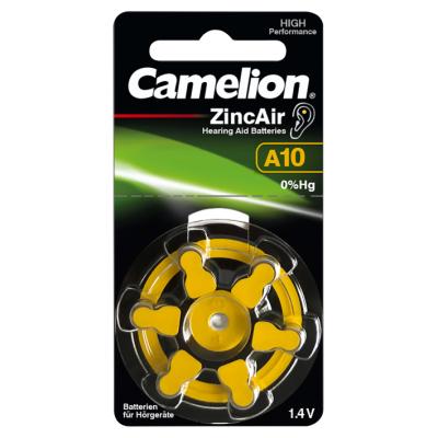 Knopfzelle CAMELION, A10, Zink-Luft, 6er-Blister