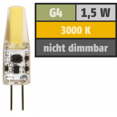 LED-Stiftsockellampe McShine Silicia COB, G4, 1,5W, 200...