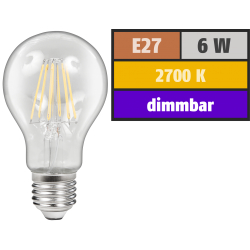LED Filament Glühlampe McShine ''Filed'', E27, 6W, 600 lm, warmweiß, dimmbar, klar