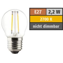 LED Filament Tropfenlampe, E27, 2,2W, 250lm, 2700K, warmweiß