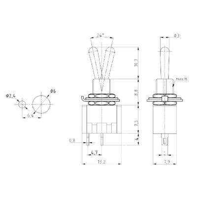 Miniatur-Kippschalter McPower, 250V/3A, 6-polig, 2...