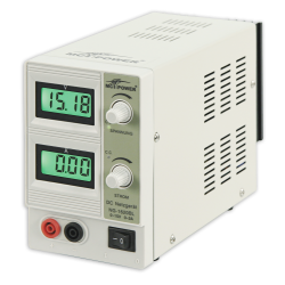 Labornetzgerät McPower NG-1620BL regelbar 0-15 V, 2...