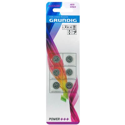 Knopfzelle GRUNDIG, AG13, 1,5V, Alkaline, 6er-Blister