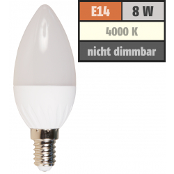 LED Kerzenlampe McShine, E14, 8W, 600lm, 160°, 4000K, neutralweiß, Ø37x105mm