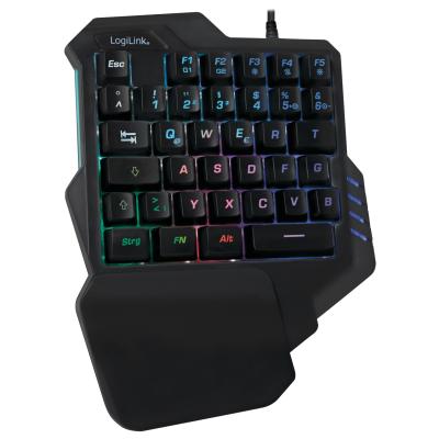 Gaming Tastatur, Einhand Keyboard, schwarz, LED Beleuchtung