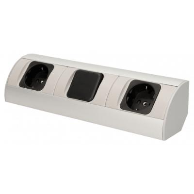Steckdosenblock Aufbau, silber, 2fach, ein Schalter, 3680W