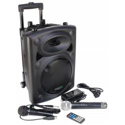 Mobile-Beschallungsanlage IBIZA PORT8VHF-BT 400W, Bluetooth, Funkmikro