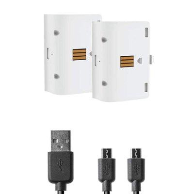 Xbox One Battery:Kit white NEW 2 Akkus 800mAh + Ladekabel